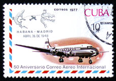 Jet aircraft and Havana-Madrid cachet, Apr. 26, 1948 Stock Photography