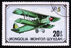 Jet aircraft and Havana-Madrid cachet, Apr.26, 1948, series International Airmail Service, 50th Anniversary, circa 1977. MOSCOW, RUSSIA - APRIL 2, 2017: A post Stock Images