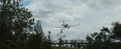 The jet aircraft landing in Reykjavik airport.
