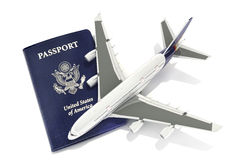 Jet aircraft with passport Stock Images
