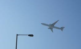 Jet aircraft take-off from Hong Kong International Airport Stock Image