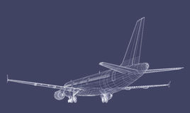 Jet Airliner. Passenger Jet CAD Wireframe Drawing Stock Photography