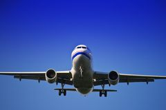 Jet airliner. Against blue sky Royalty Free Stock Photo