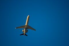 Jet airliner. Against blue sky Stock Images