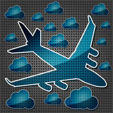 Jet airliner in the air with clouds Stock Photo