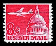 Jet Airliner au-dessus de capitol, envoient le serie par avion 1952-1967, vers 1962 images stock