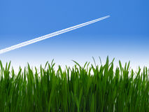 Jet airliner in blue sky Stock Image