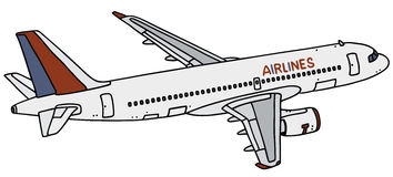 Jet airliner. Hand drawing of a jet airliner - not a real type royalty free illustration