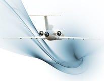 Jet airliner over blue fractal Vector Illustration