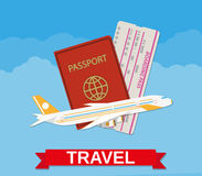 Jet airliner, passport, boarding pass ticket Stock Photography