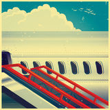Jet airliner on retro poster Stock Image