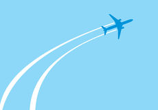 Jet airplane. Vector image of white silhouette of jet airplane Stock Photo