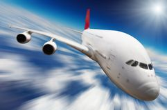 Jet airplane. In the sky with motion blur Stock Photos