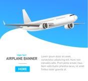 Jet Airplane blanche dans la bannière d'air Vecteur Photos stock