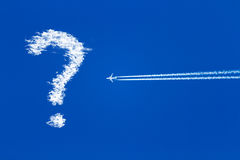 Jet airplane on blue sky, question mark in the sky Royalty Free Stock Photos