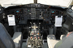 Jet airplane cockpit royalty free stock photos