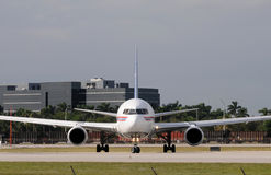 Jet airplane front view. Modern jet airplane on the runway for departure Stock Image
