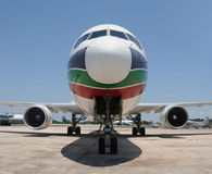 Jet airplane front view Stock Images