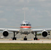 Jet airplane front view. Passenger jet airplane taxiing front view Stock Image