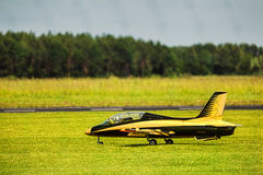 Jet airplane on green grass Stock Images