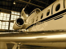 Jet airplane in hanger Stock Photo