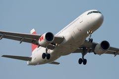 Jet airplane landing. Jet airplane is approaching Rwy Stock Photos