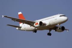 Jet airplane landing Royalty Free Stock Photography
