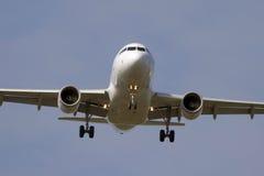 Jet airplane landing. Jet airplane is approaching Rwy Royalty Free Stock Photos