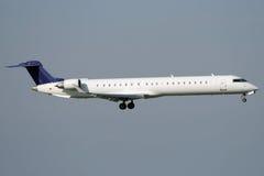 Jet airplane landing. Jet airplane is approaching Rwy Stock Photo