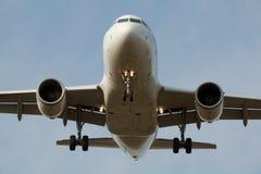 Jet airplane landing Stock Photo