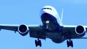 Jet airplane landing close-up stock video footage