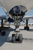 Jet airplane landing gear Royalty Free Stock Images