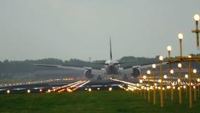 Jet airplane landing stock video footage