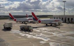 Jet Airplane na preparação do aeródromo antes do voo Imagem de Stock Royalty Free