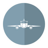 Jet airplane private transport front view gray circle. Vector illustration eps 10 Royalty Free Stock Images
