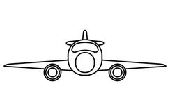 Jet airplane private transport front view outline. Vector illustration eps 10 Stock Photography