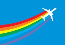 Jet airplane with rainbow trail Stock Images