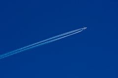 Jet airplane in sky Royalty Free Stock Images