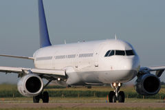 Jet airplane taxiing. Jet airplane is taxiing prior to departure Stock Photo