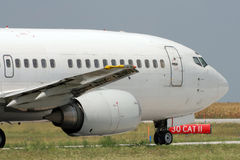 Jet airplane taxiing. Jet airplane is taxiing prior to departure Royalty Free Stock Photography