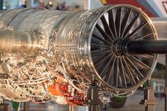 Jet Airplane turbine engine close up. Airplane Jet gas turbine engine detail Stock Images