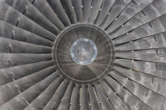 Jet Airplane turbine engine. Airplane Jet gas turbine engine detail Stock Images