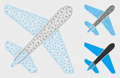 Jet Airplane Vector Mesh Wire Frame Model and Triangle Mosaic Icon. Mesh jet airplane model with triangle mosaic icon. Wire frame polygonal mesh of jet airplane vector illustration