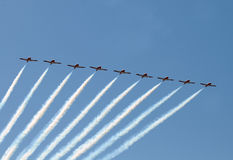 Jet airplanes in formation Royalty Free Stock Images