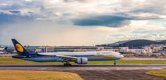 Jet Airways at Heathrow. LONDON, UK - October 1, 2016: Heathrow Airport is the second busiest airport in the world by international passenger traffic, as well as stock photos