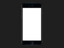 Jet black  Apple iPhone  7 Plus mockup template Stock Image