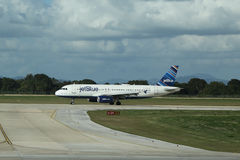 Jet Blue plane on tarmac at La Romana International Airport Stock Photo