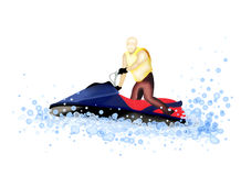 Jet Boat : Man Riding A Jet Ski on The Water Royalty Free Stock Photos