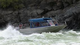 Jet boat Upriver Snake River Hells Canyon Idaho stock video footage