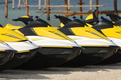 Jet Boats. Lined up on a Caribbean beach ready for action royalty free stock photos